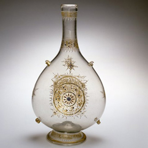 Venetian Cristallo Glass Flask