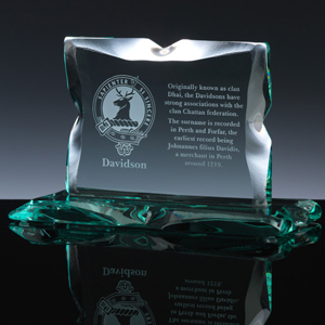 Scottish Clan Crest engraved on handmade unique rock crystal tablet