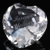 Optical Crystal 2.25 inch Engraved Heart Forever Yours, Single, Blue Velvet Lined Casket