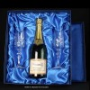 Satin Box Champagne Bottle and Pair Flutes 14.5x15.5x4.1  inches, Single, White Sleeve